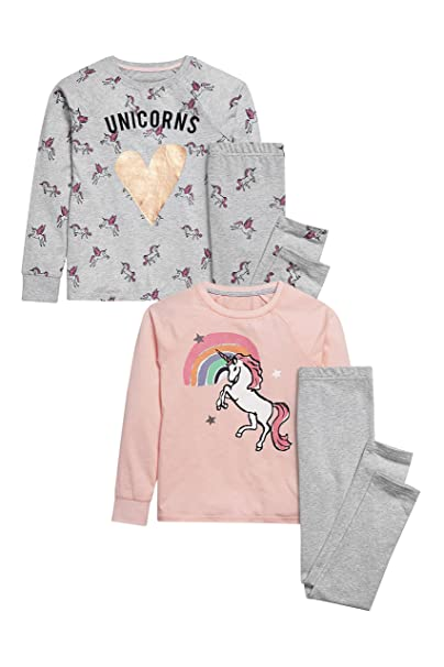 next Niñas Junior Paquete De Dos Pijamas Leggings Y Camiseta Manga Larga Diseños Varios (3