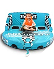 SereneLife Heavy-Duty Inflatable Towable Booster Tube -Three Person Water Tube Boating Float Tow Raft, Watersports Inflatable Pull Boats/Tubes/Towables w/Foam Seats, PVC Bladder, Handles SLTOWBL30