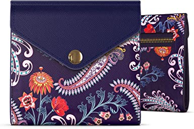 Handmade Floral Zippered Coin Purse Pretty Vintage Blue Floral Fabric Multi-Colored Flower Print Zippered Credit Card Pouch