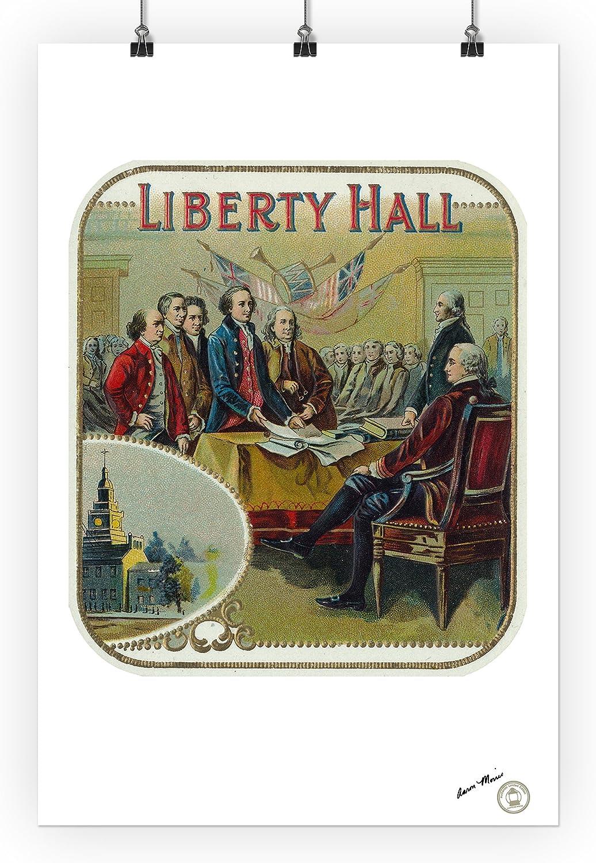 24x36 Giclee Gallery Print, Wall Decor Travel Poster Liberty Hall Brand Cigar Box Label