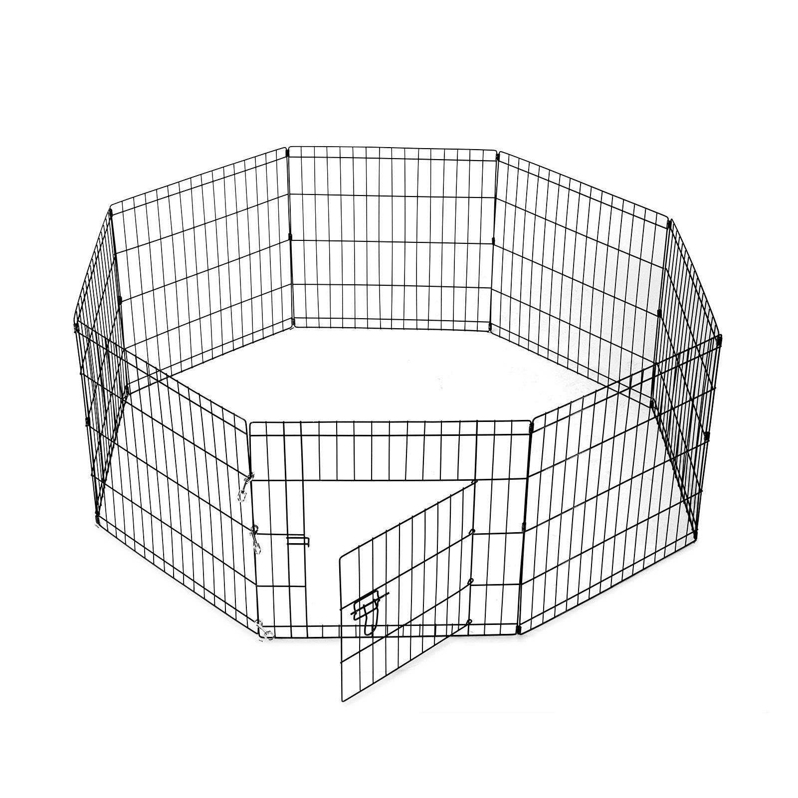 SmithBuilt Crates 8 Panel Metal Wire Popup Portable Fence Playpen Folding Exercise Yard with Door and Carry Bag, 24-Inch High, Black by SmithBuilt Crates (Image #3)