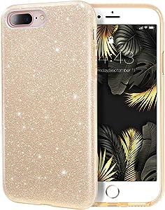 MILPROX iPhone 8 Plus Case, iPhone 7 Plus Glitter Sparkly Pretty Cute Premium 3 Layer Hybrid Anti-Slick/Protective/Soft Slim Thin Case for Girls/Women iPhone 7 Plus / 8 Plus - Gold