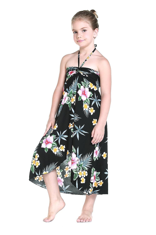 f8458ab4c33b Amazon.com: Girl Hawaiian Butterfly Dress in Hibiscus Black: Clothing