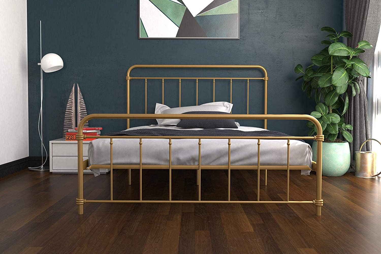 Black Multifunctional Piece with Adjustable Heights for Under Bed Storage Twin DHP Winston Metal Bed Frame