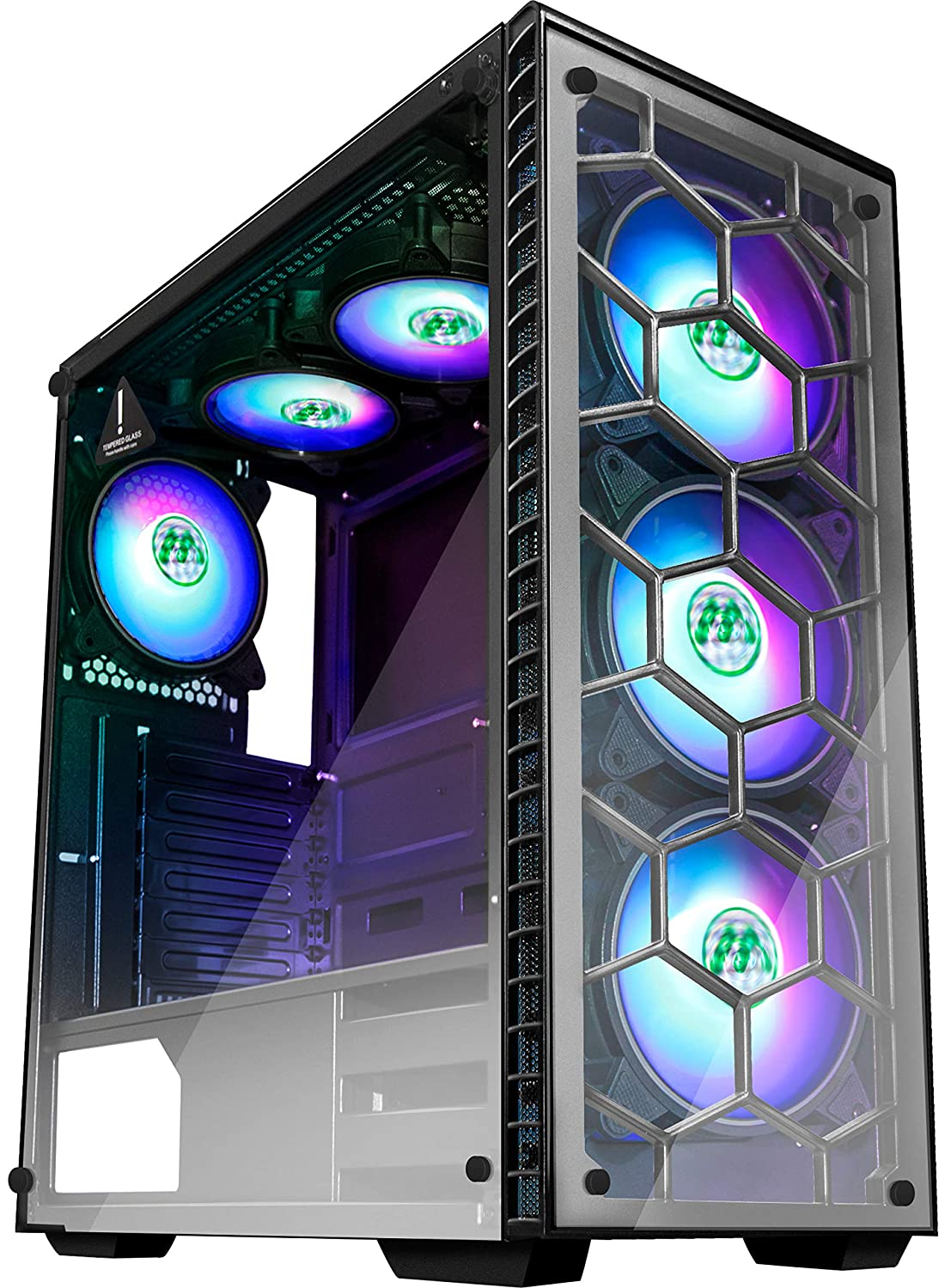 MUSETEX ATX Mid Tower Gaming Computer Case 6 RGB LED Fans 2 Translucent Tempered Glass Panels USB 3.0 Port,Cable Management//Airflow Gaming Style Window Case 903N6