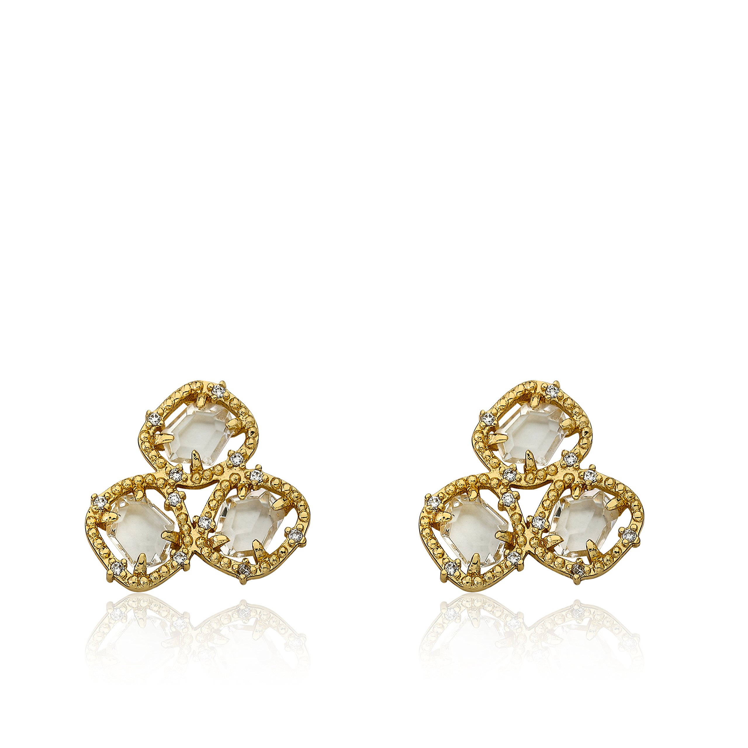 Riccova Sliced Glass 14k Gold-Plated CZ Around Clear Sliced Glass Stud Earring/ by Riccova
