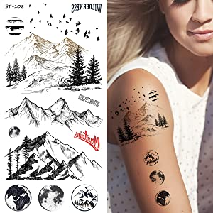 Supperb Temporary Tattoos - Mountain Outline Moon Tree Birds Wildness Adventure Bohemian Temporary Tattoos