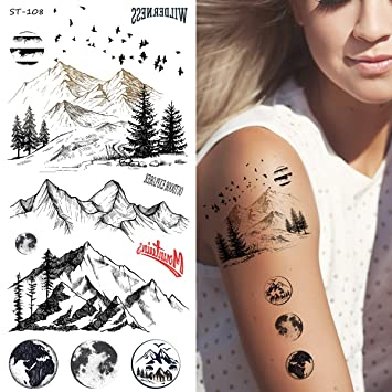 Amazoncom Supperb Temporary Tattoos Mountain Outline Moon Tree