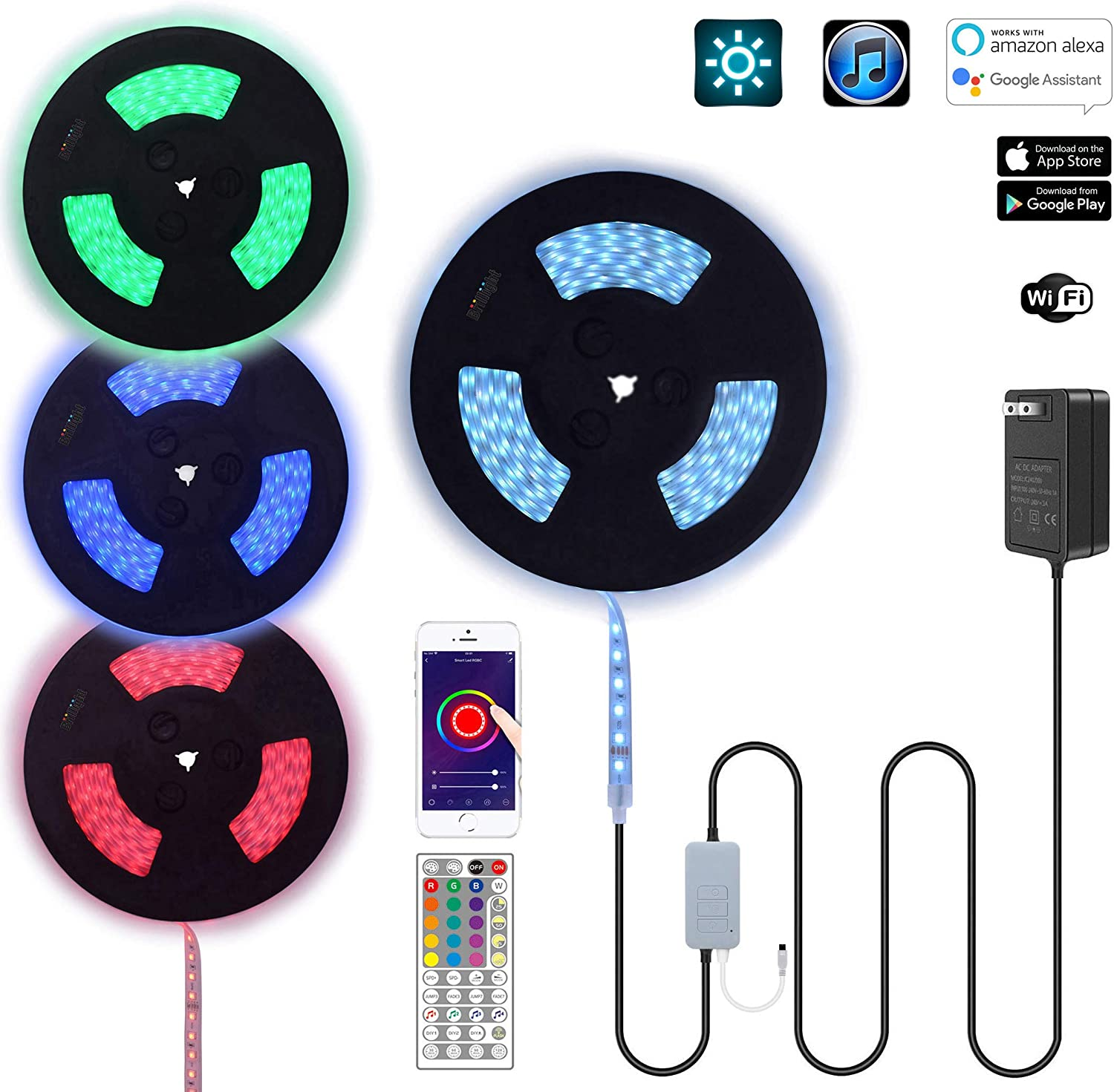 100Ft 24V Waterproof Long Run RGB LED Strip Rope Light Kit WiFi Tuya App Music SYNC Controller Works with Alexa Home Theater Crown Molding Backlight Outdoor Railings Decks Patio Garden Colors Lights