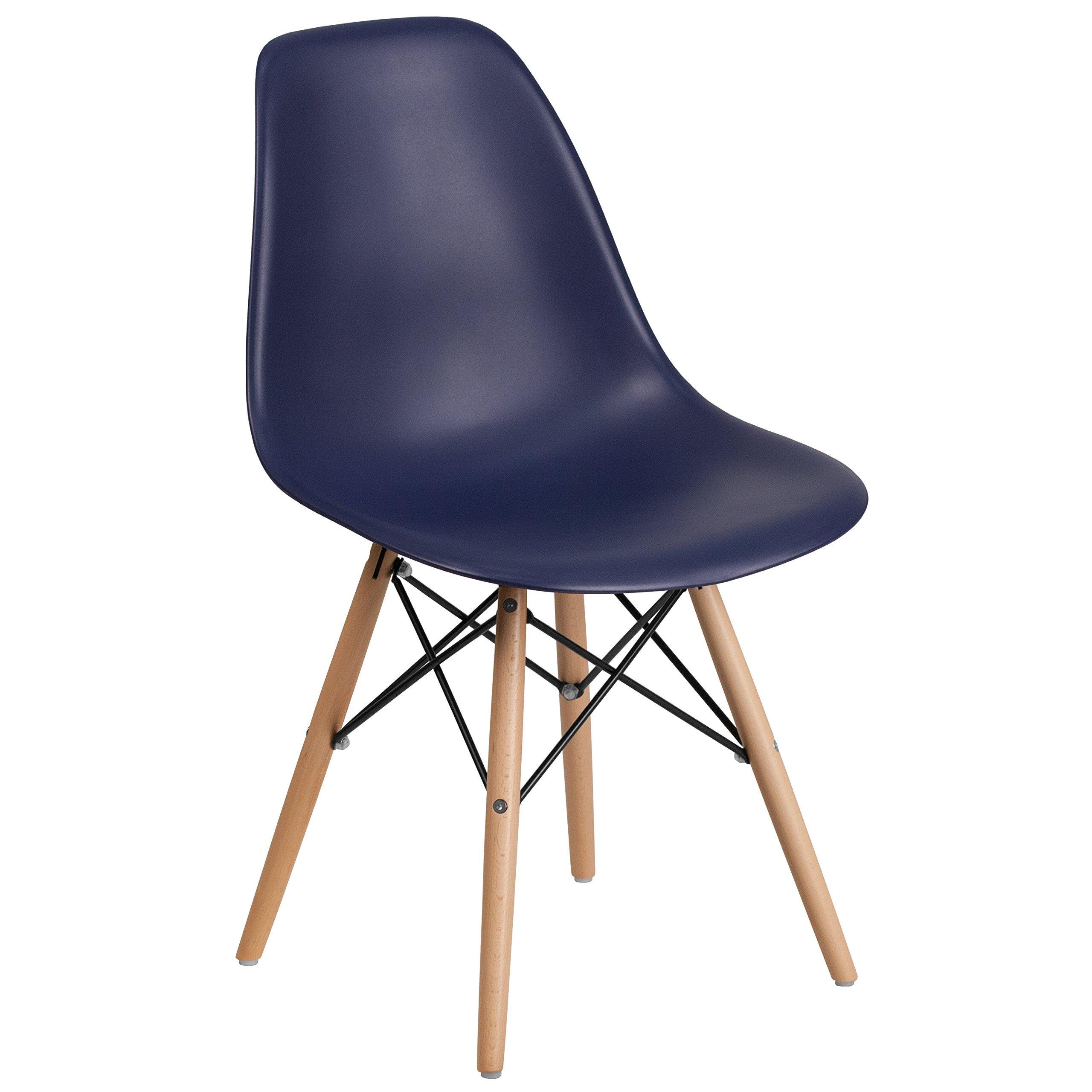 Flash Furniture Elon Series Navy Plastic Chair with Wood Basease