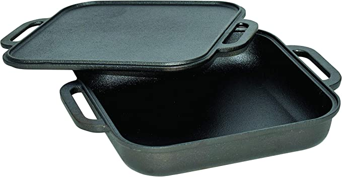 """Jim Beam Double-Sided Cast Iron Griddle Pan Reversible w//Heat Retention 20/"""" x 9/"""""""