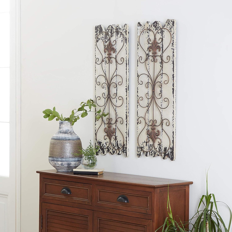 Deco 79 Elegant Wall Sculpture Wood Metal Wall Decor, 32/11-Inch, Set of 2