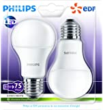 Philips Lot de 2 Ampoules LED Standard Culot E27 (Grosse Vis) 11W Consommés Équivalent 75W