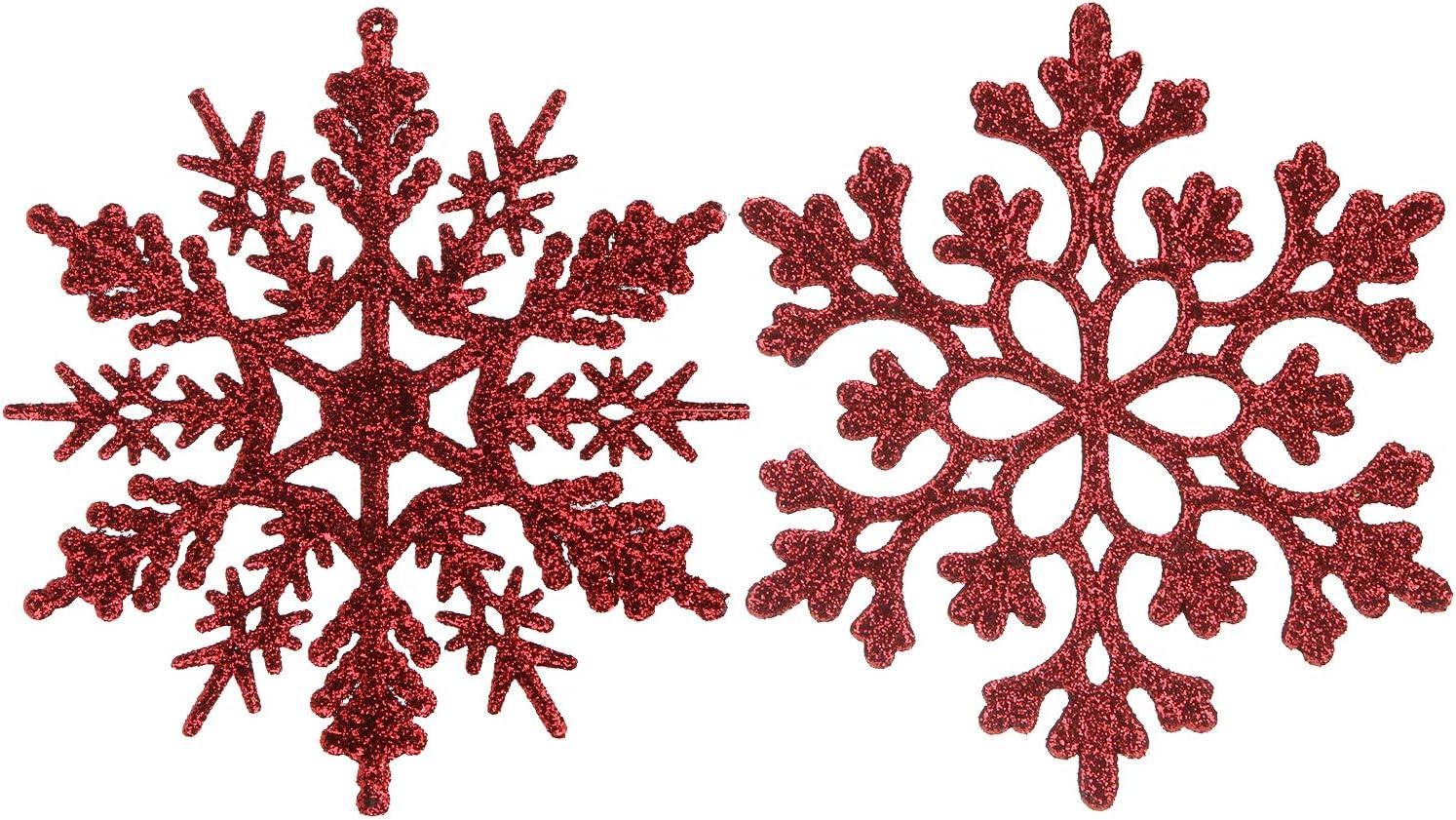 Sea Team Plastic Christmas Glitter Snowflake Ornaments Christmas Tree Decorations, 4-inch, Set of 36, Burgundy
