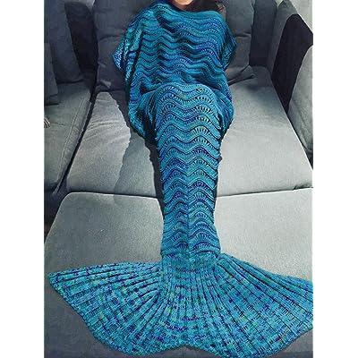 Canapé knitting seul poisson poisson sirène tails tails de l'après-midi, le quartier de tapis tapis épais ,180cm*90cm, poisson bleu.