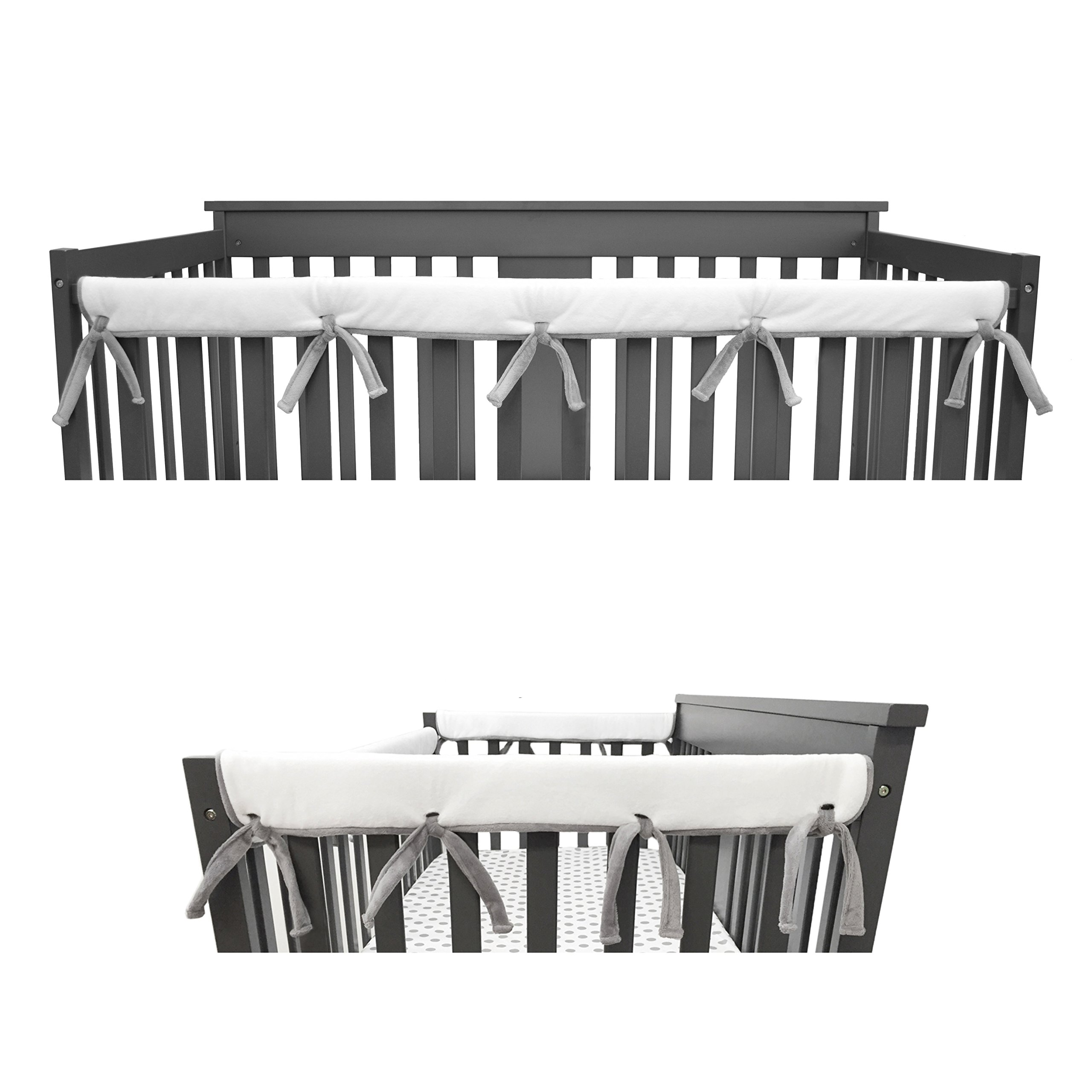 American Baby Company Heavenly Soft Narrow Reversible Crib Cover Set for 1 Long Rail & 2 Side Rails, Gray/White, Measuring up to 4'' Folded