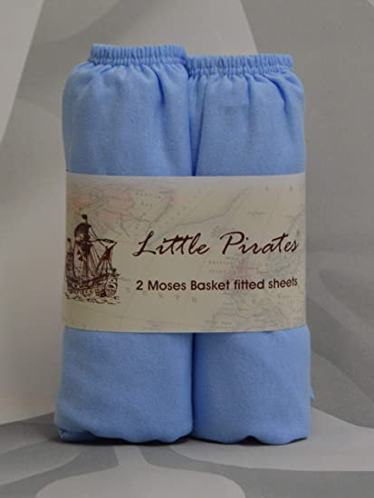 2 x Moses Basket 100/% Cotton Soft Jersey Fitted Sheets Blue