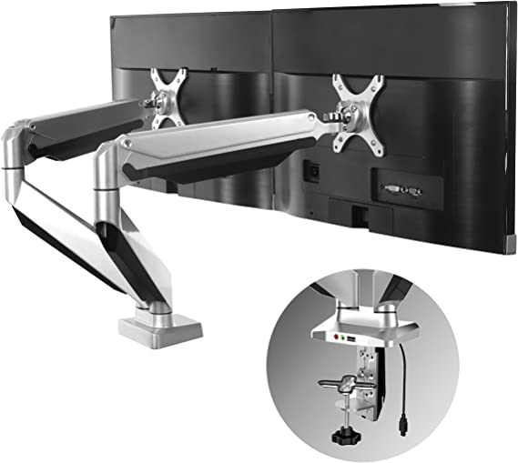 Loctek D7D Dual Monitor Mount LCD Arm for 10-27 inches Computer Screen Heavy Duty Swivel Desk Mounts Height Adjustable Gas Spring