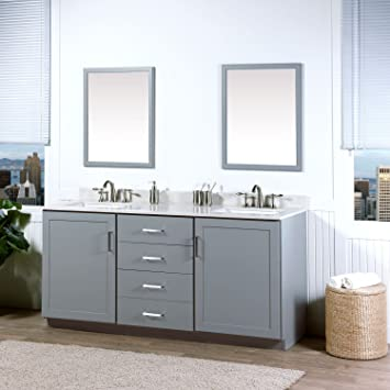 MAYKKE Sterling 72 Inch Bathroom Vanity Cabinet In Birch Wood Light Grey  Finish, Double Floor