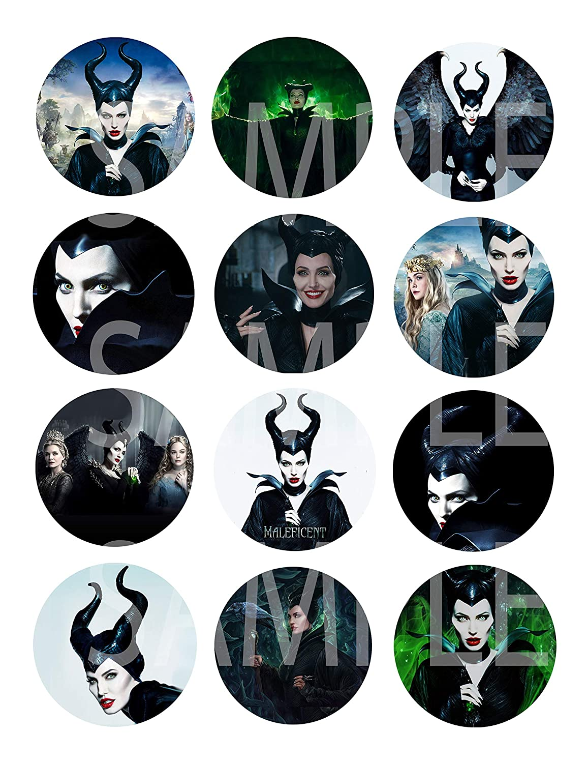 """Maleficent Stickers Large 2.5/"""" Round Circle DIY Stickers to Place onto Party Favor Bags Cards Boxes or Containers -12 pcs Evie Halloween Mistress of Evil Princess Aurora Sleeping Beauty Queen Ingr"""
