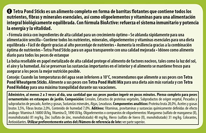 Tetra Pond Sticks 25 L - Alimento para peces de estanque, para peces sanos y agua clara, diferentes tamaños