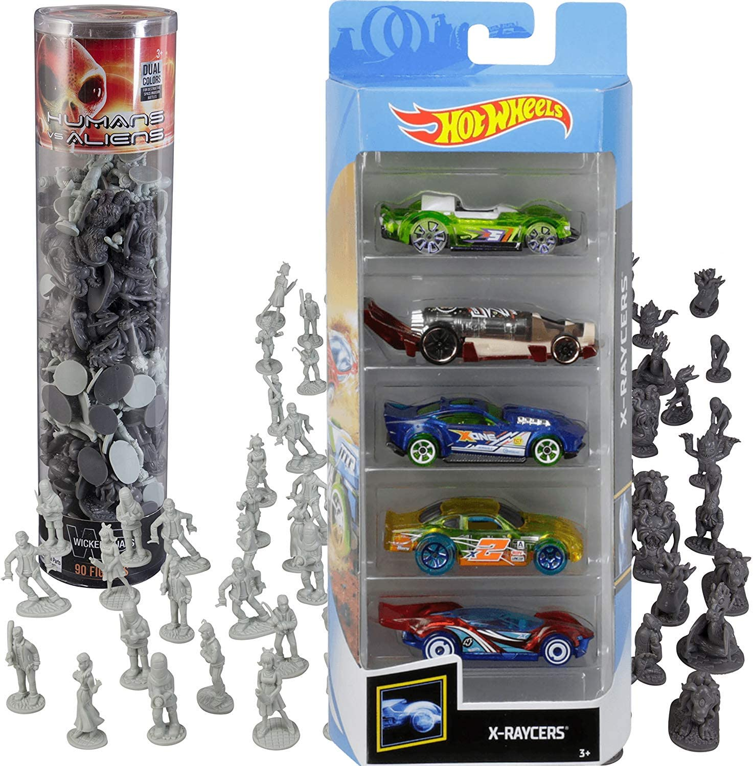 Hot Wheels X-Race Sci-Fi 5-Pack X-Raycers Sci-Fi Action Battle Bundled with Space Monster Aliens + Human Army Mini Figures 2 Items: Amazon.es: Juguetes y juegos
