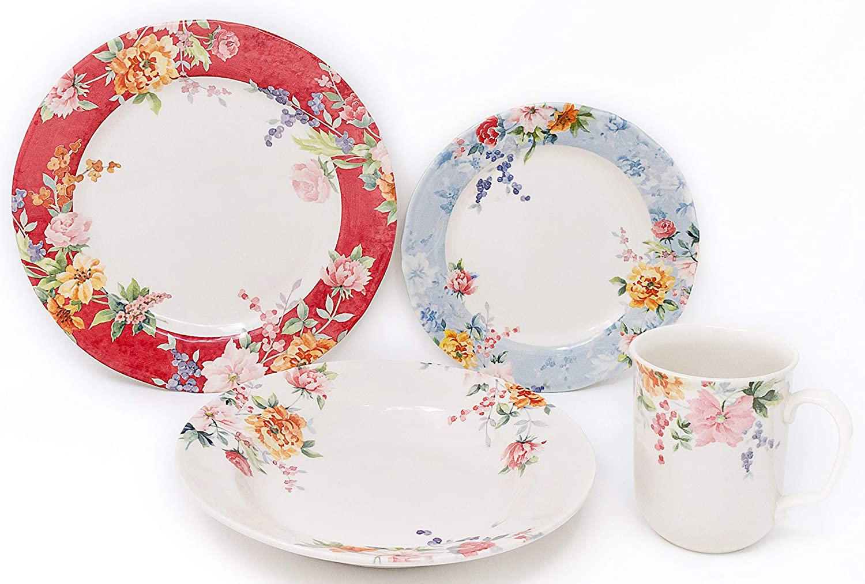 Tudor Royal Collection 16-Piece Premium Quality Porcelain Dinnerware Set, Service for 4 - CRIMSON,See 10 Designs Inside!