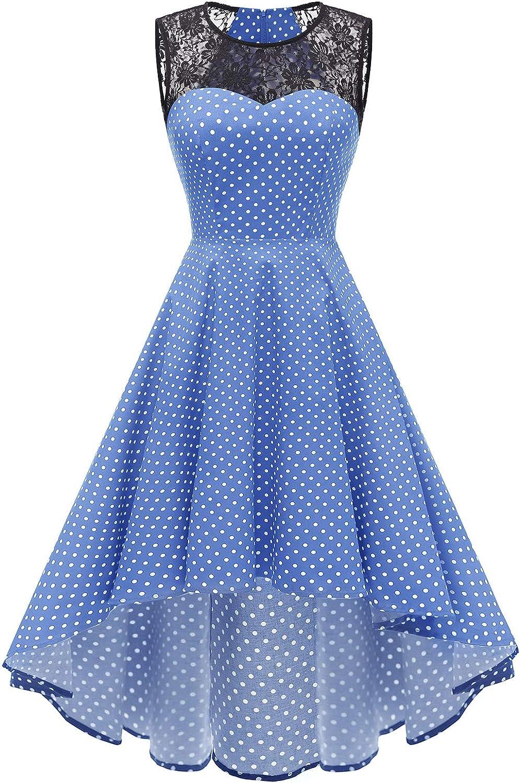 TALLA XS. Homrain de la Mujer Vintage Encaje de Manga Corta HI-lo cóctel Fiesta Vestido Swing Blue Small White Dot XS