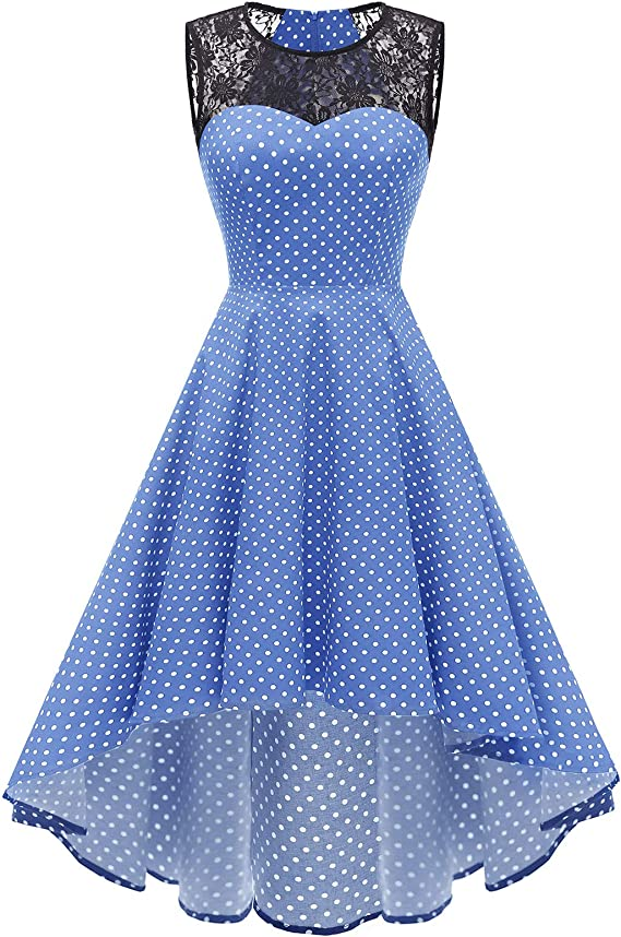 TALLA 3XL. Homrain de la Mujer Vintage Encaje de Manga Corta HI-lo cóctel Fiesta Vestido Swing Blue Small White Dot 3XL
