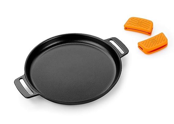 BRA Efficient Iron - Parrilla redonda lisa 32 cm, fabricada en hierro fundido esmaltado. Apta para su uso en horno y todo tipo de cocinas, ...