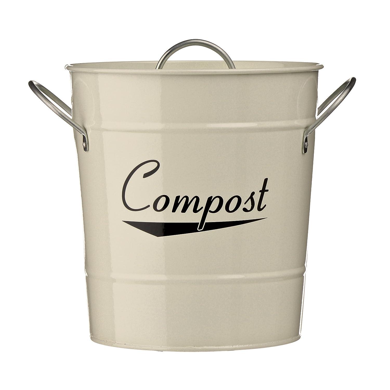 Komposteimer aus verzinktem Stahl (pulverbeschichtet) mit Zink-Griffen, Inneneimer aus Kunststoff, Beige Premier Housewares 0510015
