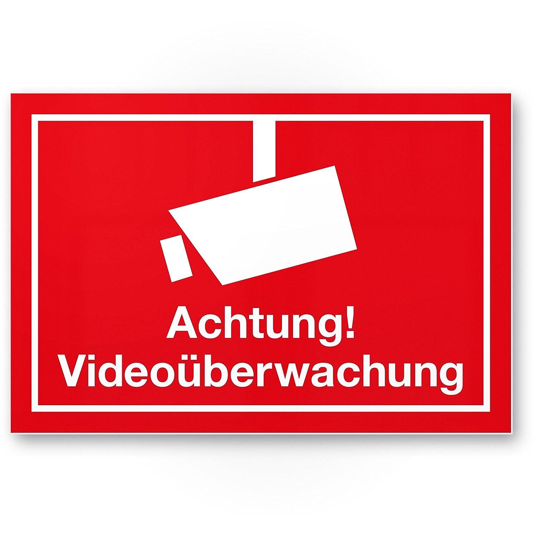 Advertencia Cartel de videovigilancia (Rojo, 30 x 20 cm ...