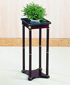 Marble Top Plant Stand Merlot and Green
