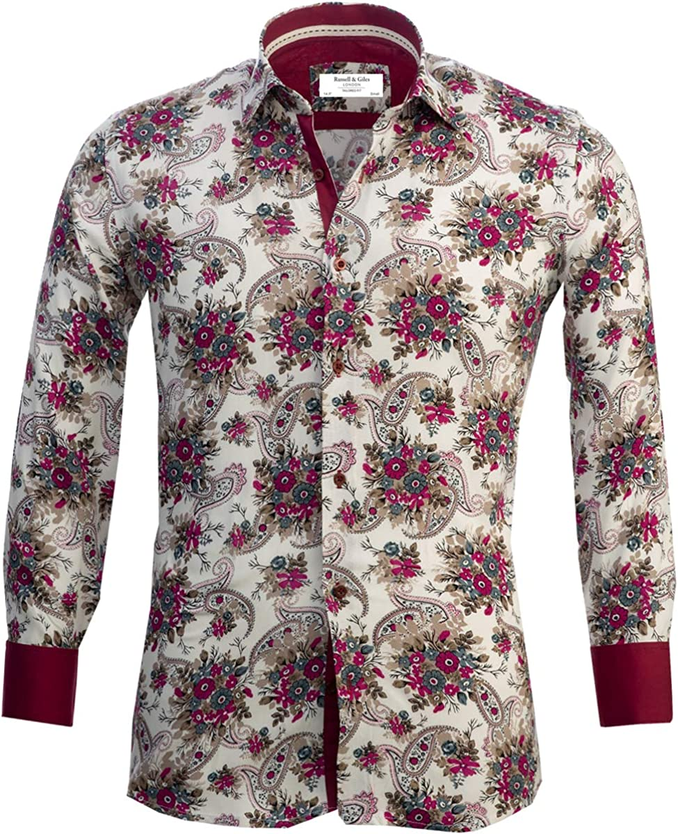 Russell /& Giles Mens Pure Cotton Designer Paisley Patterned Shirt