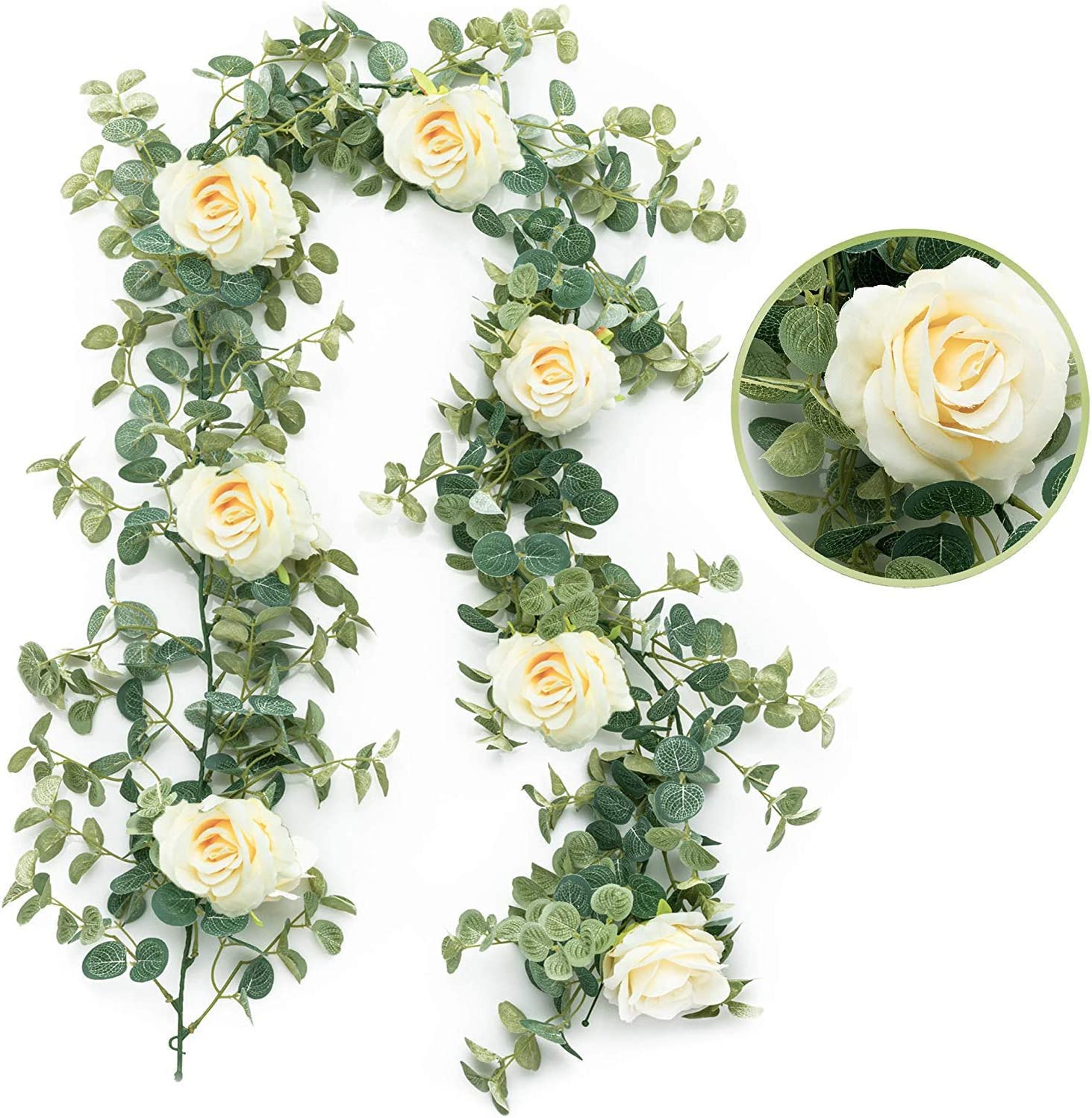 MISBEST Artificial Eucalyptus Garland with 7 Heads Rose Silk Eucalyptus Leaves Rattan Greenery Rose Flower Garland Hanging for Wedding Arch Backdrop Wall Decor Arch Wall Flower Table Runner Decoration
