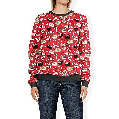 60e9f57f3 Sushi Cherry Blossom Sweatshirt at Amazon Women's Clothing store: