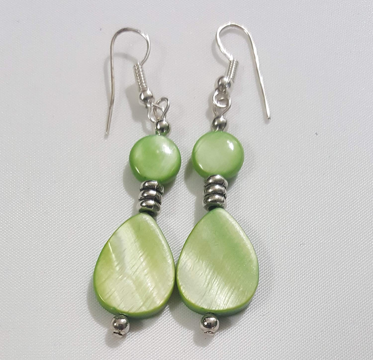 Multi-layered Green with Stripes MOP Shell Gemstone Beads Dangle Earrings
