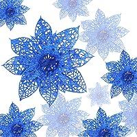 Zaloife Poinsettia Adorno, 24 Brillante Flores de Árbol de Navidad Colgantes Navidad Adornos, Flores de Navidad Boda…