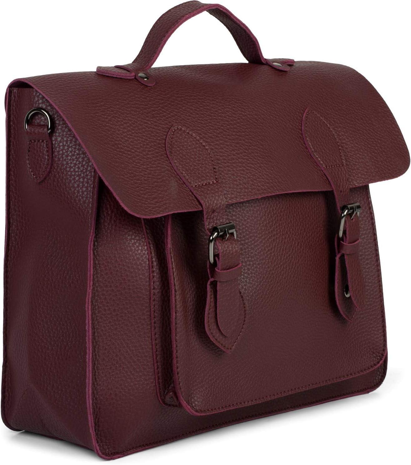Aktentasche Farbe:Bordeaux-Violett Schultertasche Rucksack Unisex 02012312 styleBREAKER Multifunktion Messenger Bag Umh/ängetasche mit Schnallen