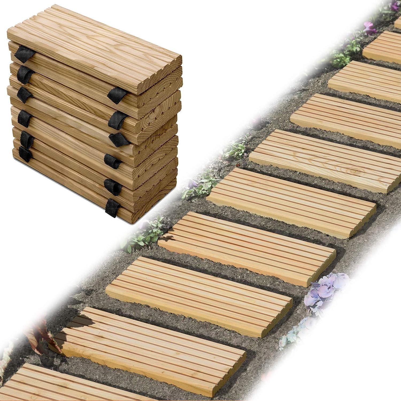Gartenpirat Rollweg Holz 25x250 cm Gartentritte Holz-Tritte Holz-Fliesen f/ür den Weg im Garten