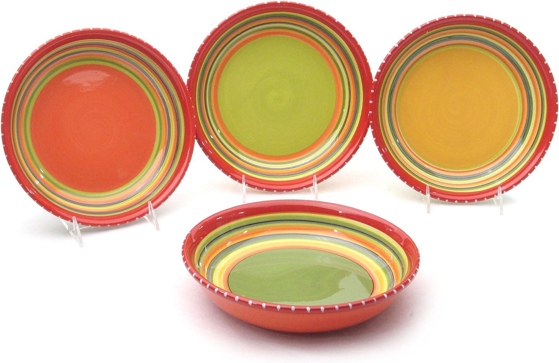 Certified International Hot Tamale Salad//Dessert Plate Set of 4 Assorted Designs