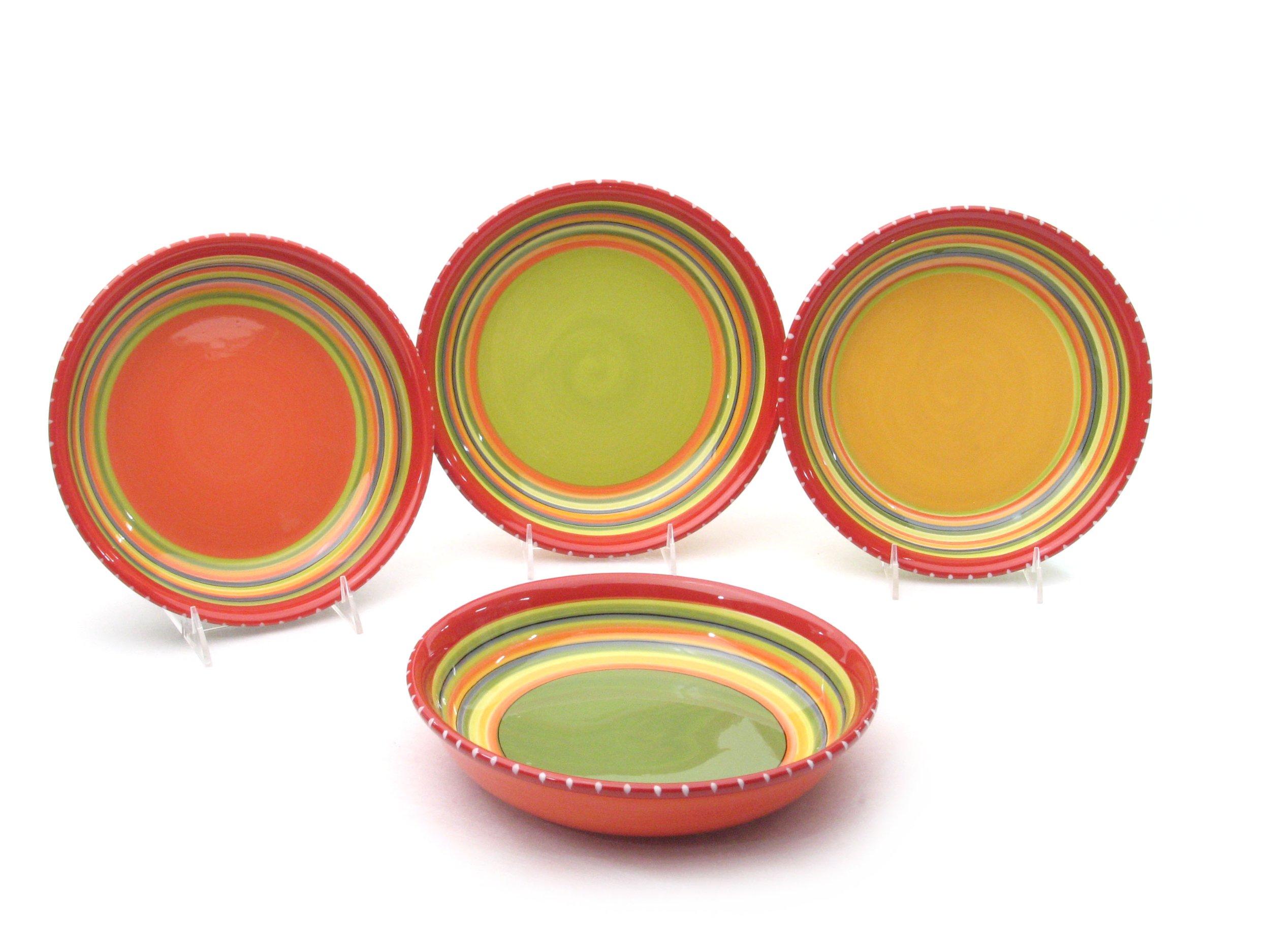 Certified International Hot Tamale Soup/Cereal Bowl, Set of 4 Assorted Designs