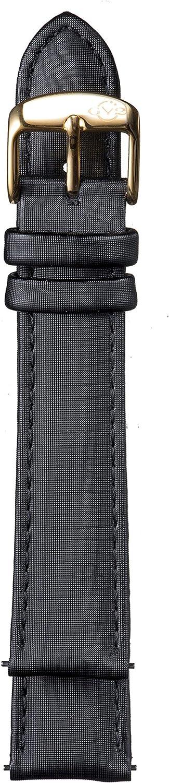 gv2レディース18 mmブラックサテンストラップイエローゴールドバックル
