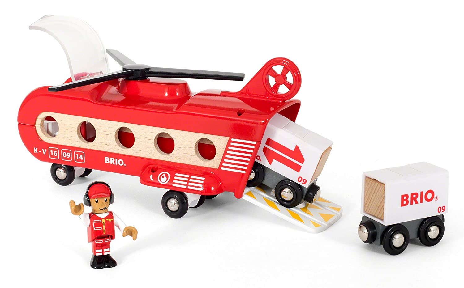 Cargo Helicopter Vehicle Toy Wooden Train Toy Brio World 33886