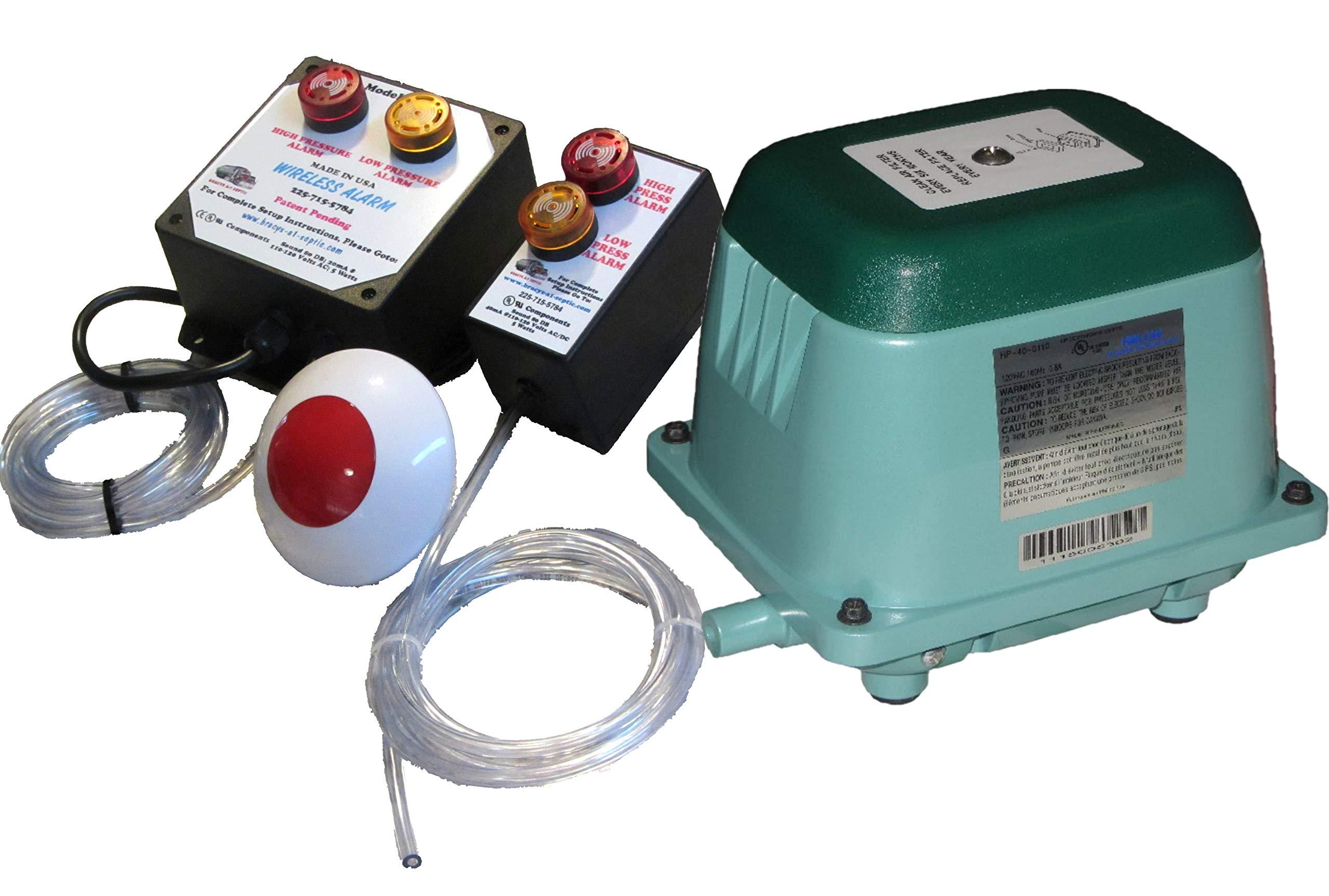 (New Listing) Septic Air Pump HP80 & Hi/Lo Pressure Plugin Alarm (Standard & Wireless)
