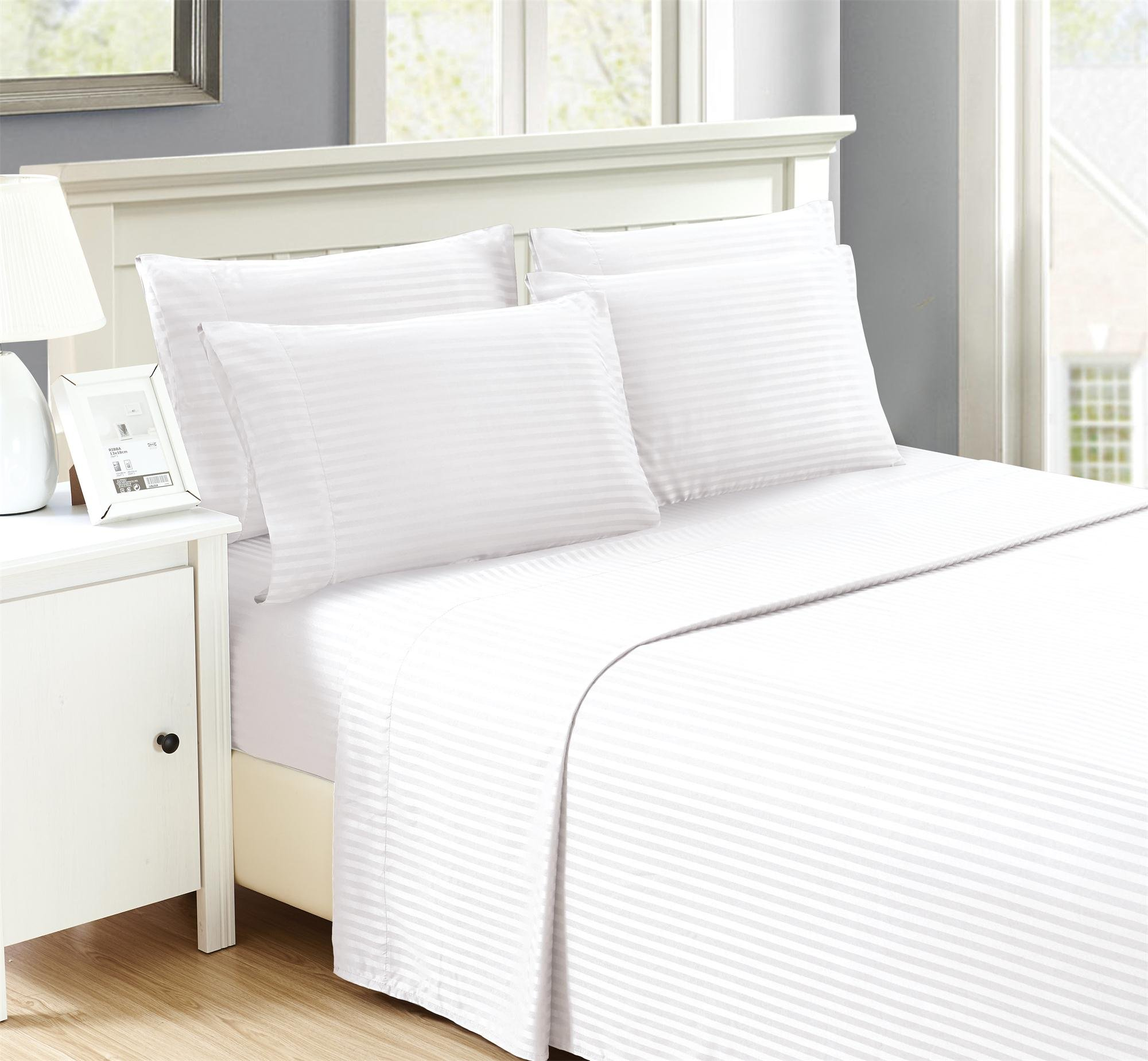 Brooklyn Chic Embossed Stripped 6 piece sheet sets Extra Pillow Cases Wrinkle Free, Stain Resistant, White Queen Microfiber by Brooklyn Chic