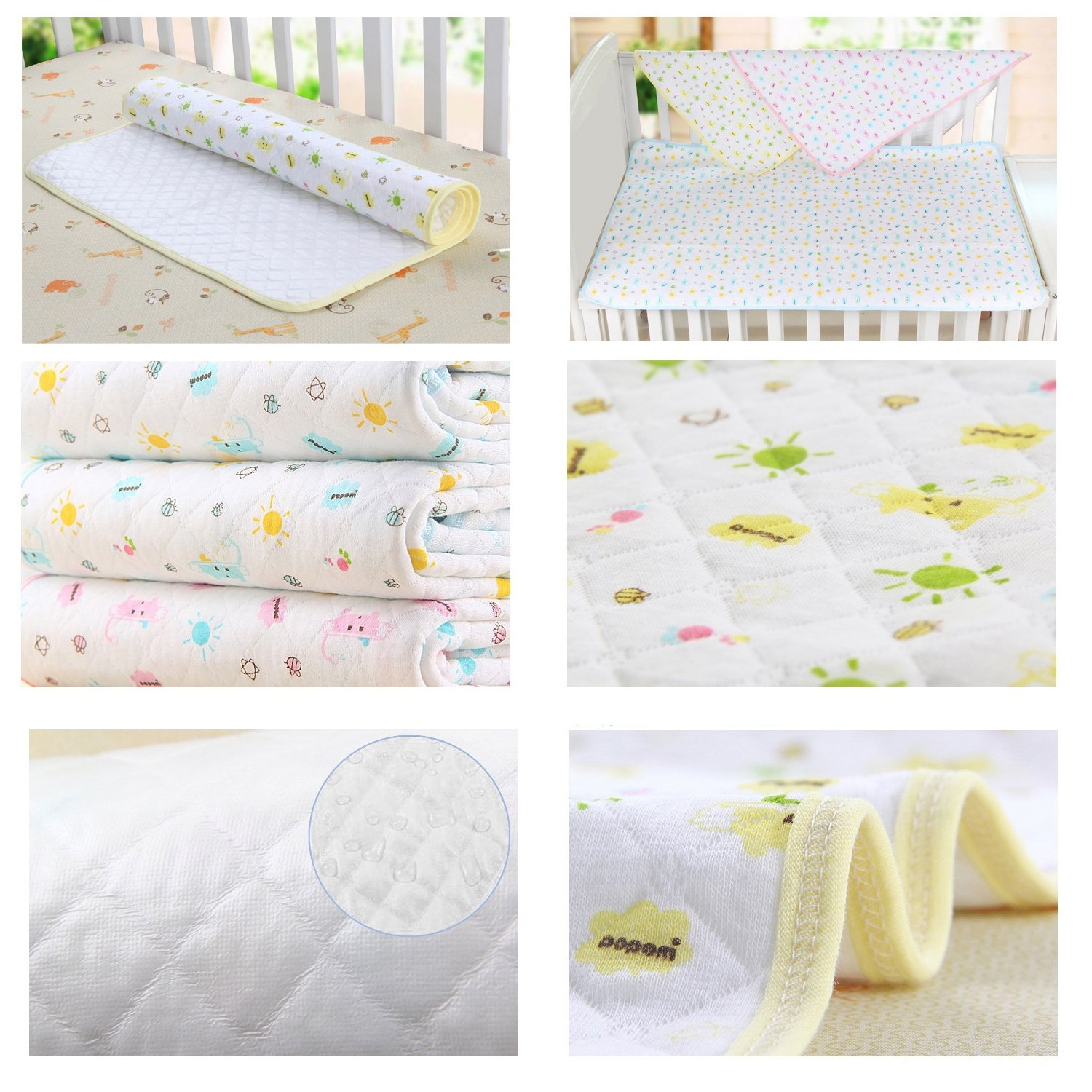 Baby Kid Waterproof Changing Pads - Breathable Mattress Pad Diapering Sheet Protector Menstrual Pads Pack of 3 (L (27.5 x 41.3 Inch)) by MBJERRY (Image #5)