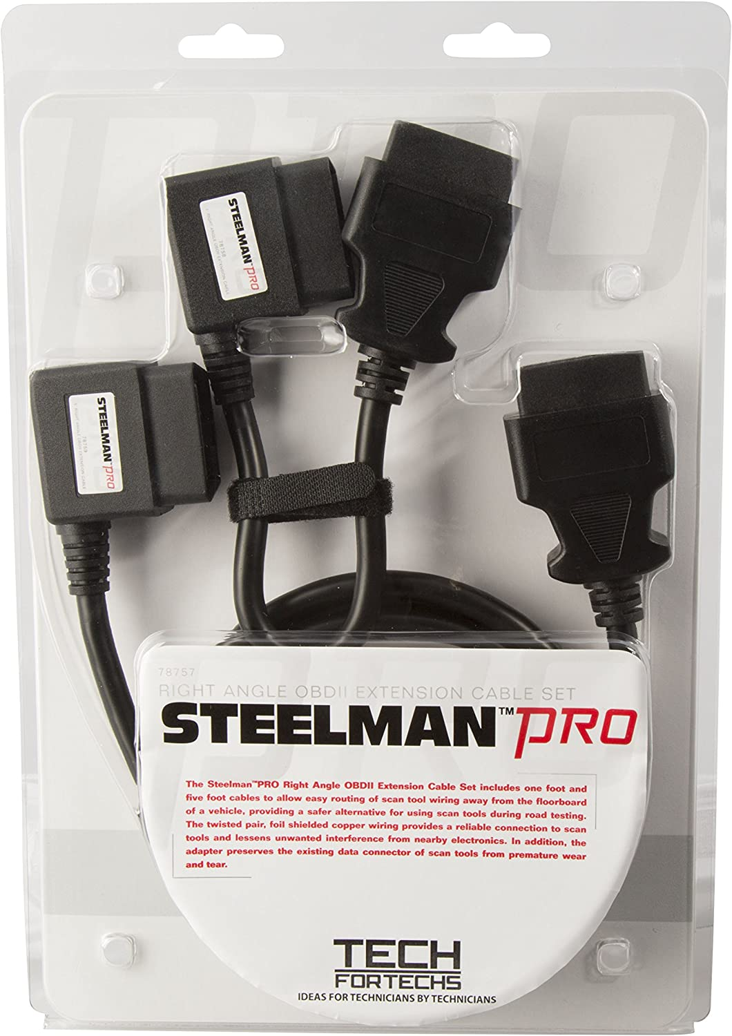 Right Angle OBDII Diagnostic Extension Cable STEELMAN PRO 78759 60 in