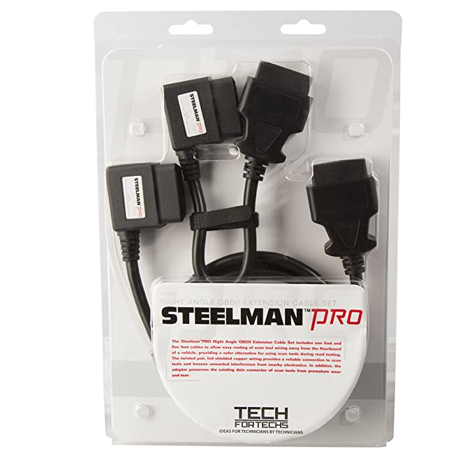 Steelman Pro 78757 2-Piece Right Angle OBDII Extension Cable Set