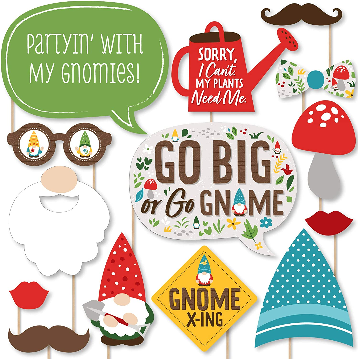 Big Dot of Happiness Garden Gnomes - Forest Gnome Party Photo Booth Props Kit - 20 Count